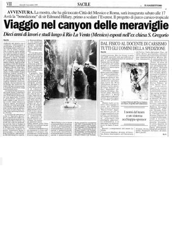 1999 Il Gazzettino di Sacile, Viaggio nel canyon delle Meraviglie.