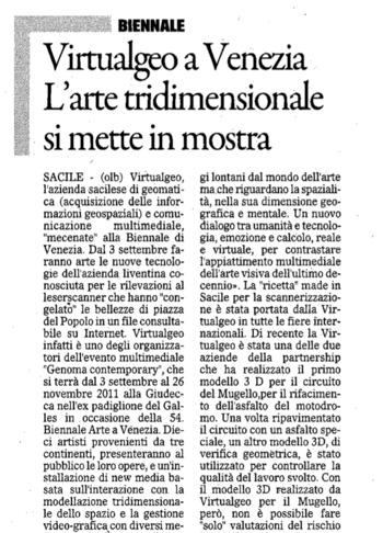 2011 Il Gazzettino di Venezia, Arte.
