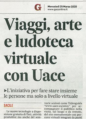 Viaggi, Arte e Ludoteca virtuale con Uace.