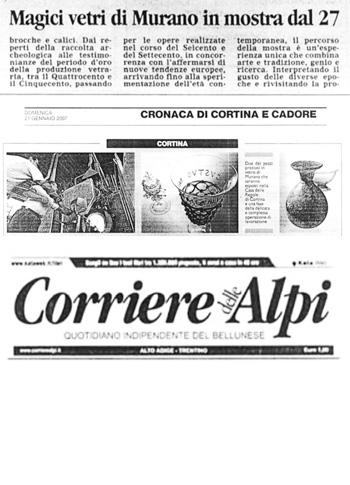 2007 Il Corriere delle Alpi, Cortina, Mostra Vetri di Murano, n2.