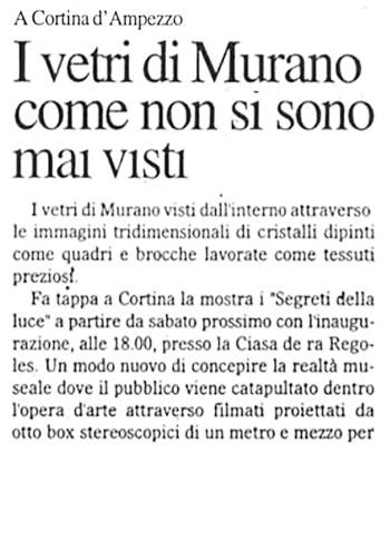 2007 Il Gazzettino di Cortina, Mostra Vetri di Murano, n1.