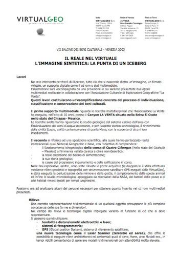2003 Relazione settimo salone dei beni culturali, Venezia. | PDF