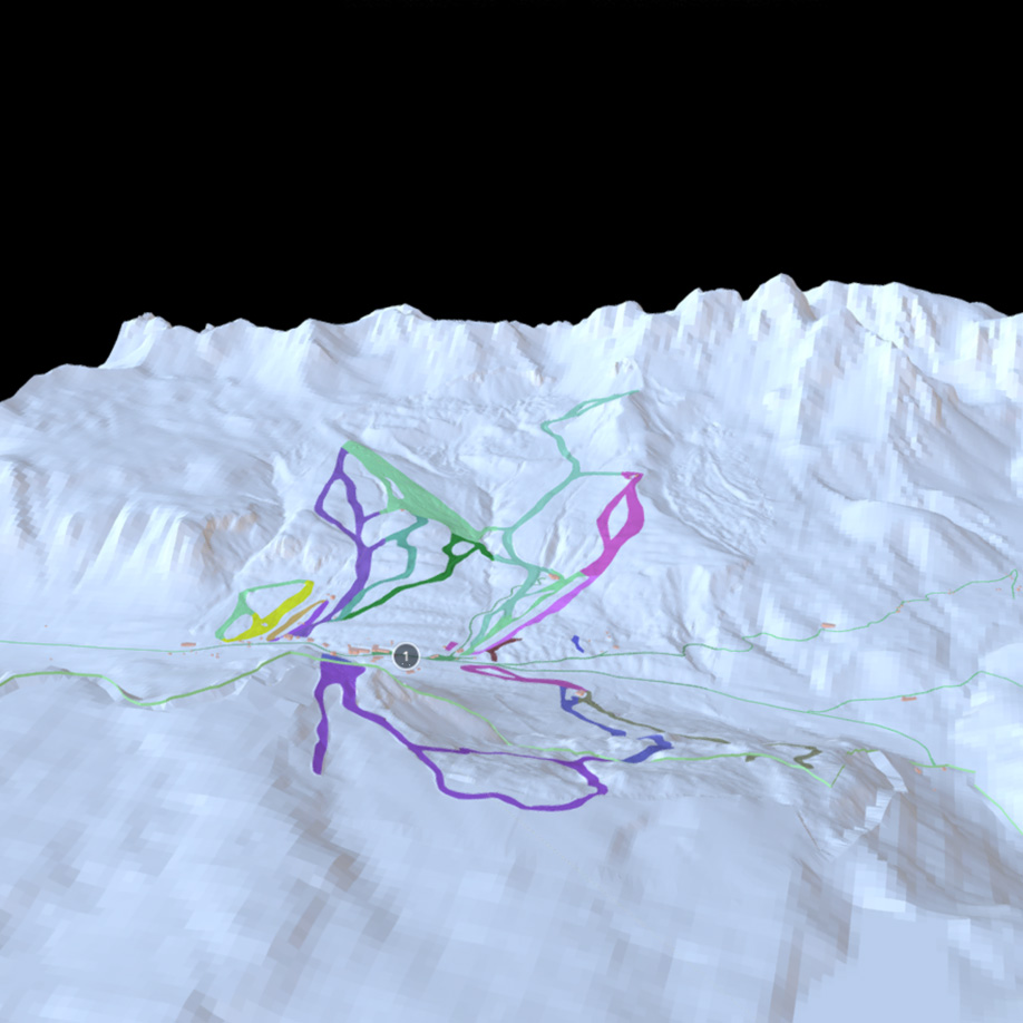 Ski slopes, San Pellegrino pass, Italy #2. | Modello 3D