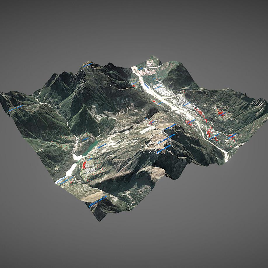 Present Status, Vajont. | Modello 3D